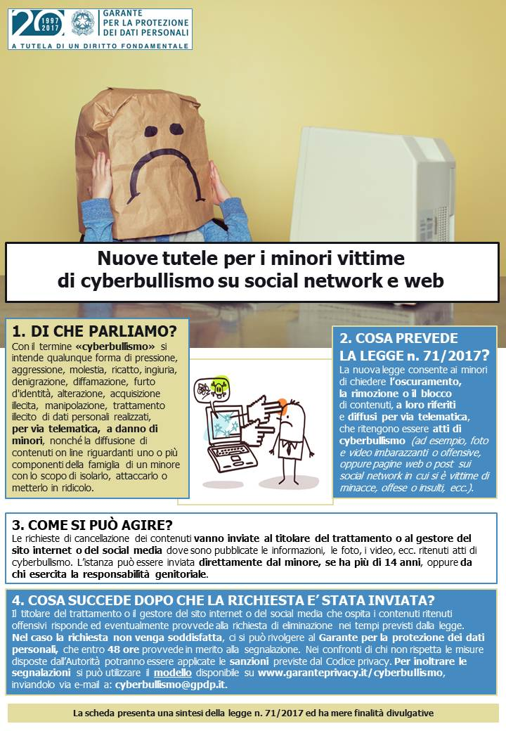 cyberbullismo garante privacy