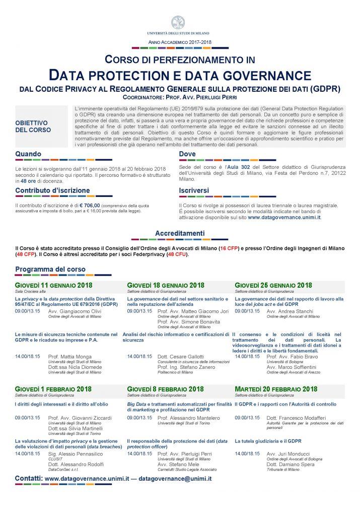 Calendario Unimi.Corso Di Perfezionamento In Data Protection E Data