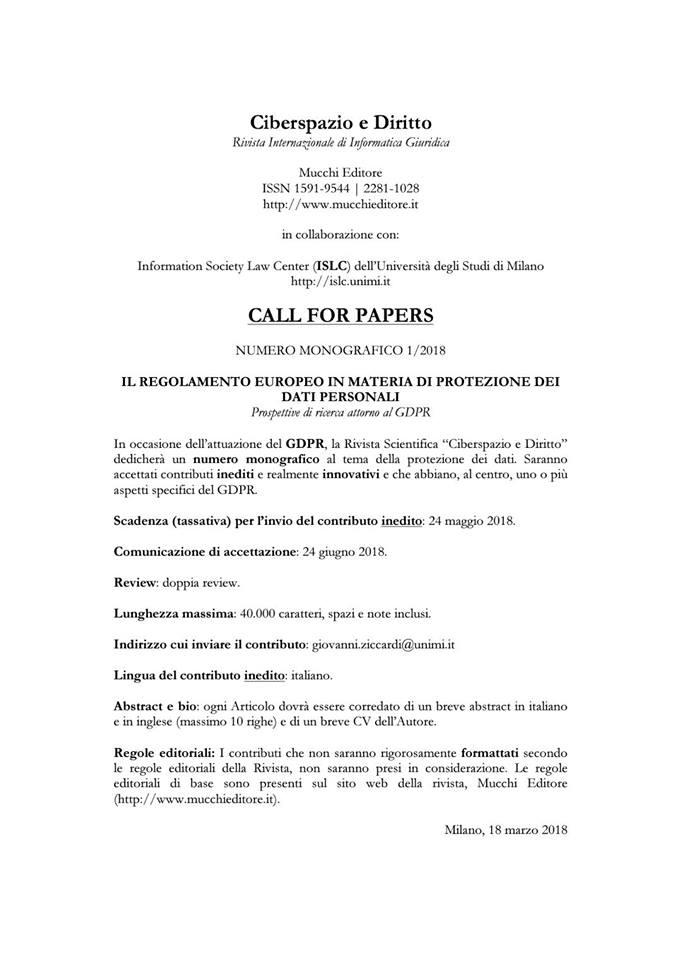Call Ciberspazio e Diritto GDPR