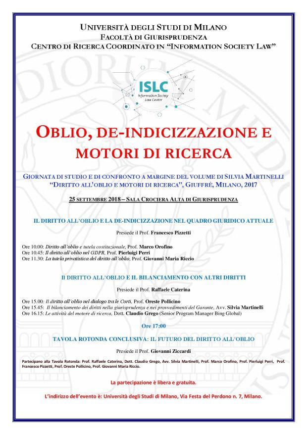 Locandina Silvia Oblio e motori di ricerca 25 settembre
