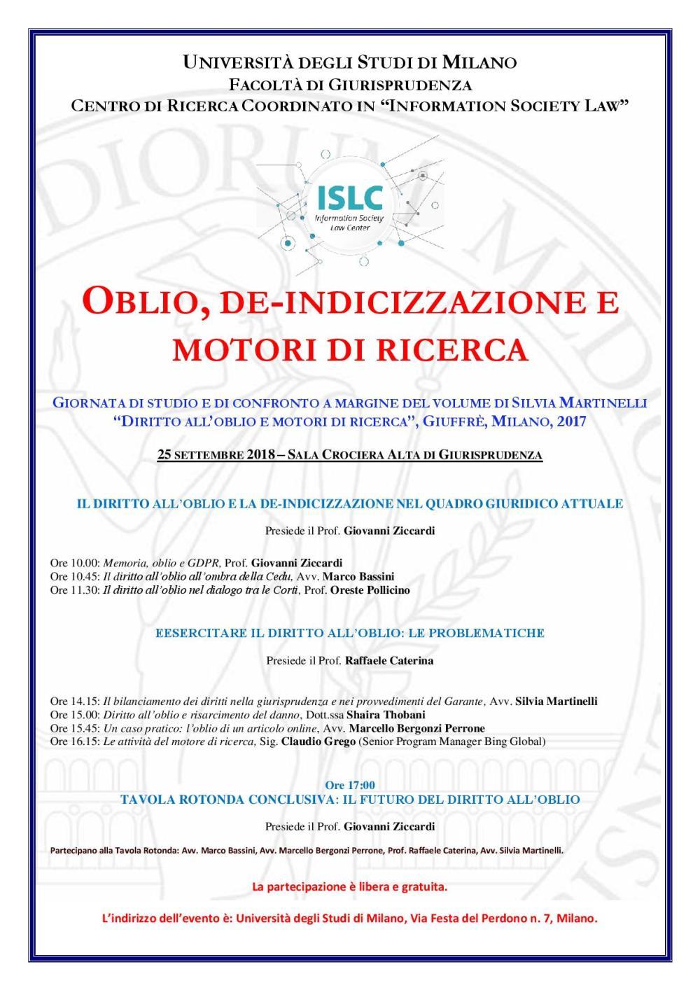 NUOVA Locandina Silvia Oblio e motori di ricerca 25 settembre